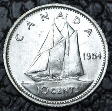 OLD CANADIAN COIN 1954 - 10 CENTS .800 SILVER - Elizabeth II - Nice Coin -LUSTRE