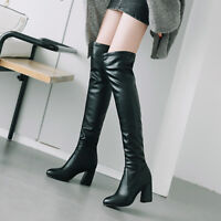 Women Block High Heels Pointed Toe Over Knee Party Long Boots Shoes UK Size 1-12