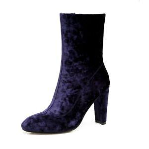 Ladies Party Shoes Velvet High Block Heels Zip Up Winter Short Ankle Boots Shoes