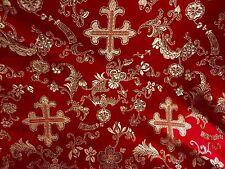 """RED/GOLD METALLIC  CHURCH BROCADE FABRIC 60"""" WIDE 1 YARD"""
