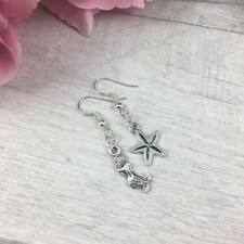 STERLING Silver Mismatch EARRINGS Sealife MERMAID Starfish Dangle Drop Hook ODD