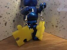 Jigsaw Puzzle Piece Yellow Acrylic Earrings Retro Gaming Video Games Geek Nerd