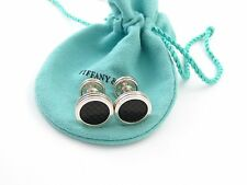 Tiffany & Co Silver Picasso Black Textured Checkered Cuff Links Cuff Link!