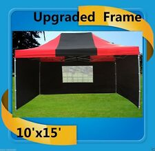 10'x15' Pop Up Canopy Party Tent EZ - Black Red - F Model Upgraded Frame