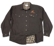 Carhartt Mens Flannel Lined Duck Canvas Brown Snap Work Shirt Jacket Large