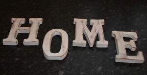 HOME  WALL HANGING  LARGE SHABBY CHIC VINTAGE WHITEWASH WOODEN LETTERS 15CM