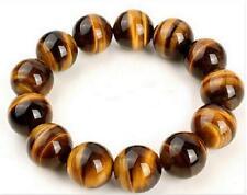 16mm Genuine Natural Yellow Tiger's Eye Gemstone Big Beads Against Evil Bracelet