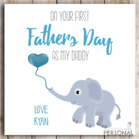 Personalised First Fathers Day Card Cute 1st Father's Day Card Daddy Dad Blue