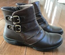 Women's Earth Origins De Soto Brown Leather Zip Up Ankle Boots 8.5M