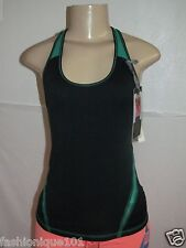 NWT HOLLISTER GILLY HICKS NAVY & GREEN SPORT KEY HOLE TANK BLOUSE TOP SIZE L