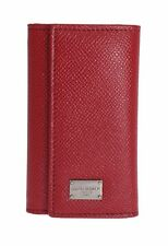 NEW $320 DOLCE & GABBANA Red Leather Wallet Case Mens Finder Chain Keyring
