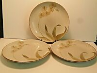 222 Fifth Tranquility Dinner Plates Pale Pink Flowers Stoneware Brown--Lot of 3!