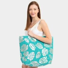 Turquoise Silver Monstera Palm Leaves Canvas Tote Travel Shopping Bag Purse