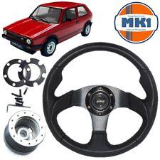 Vw Golf Mk1 Gti  Black Anodised Motorsport Style Steering Wheel, Boss Kit & Horn