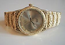 Men's Techno Pave Gold Finish Iced Dial Full Nugget Style Fashion Watch