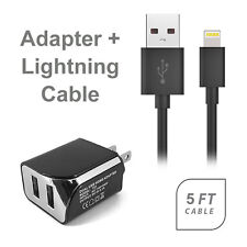 AT&T Apple iPhone 5 USB 2.1 amp Wall Adapter+5 FT 8 Pin Data Cable Black