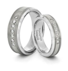 HIS & HERS 8MM/6MM Tungsten Multi CZ Inlay Comfort Fit Wedding Band TWO RING SET