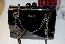 "Lovely KATE SPADE handbag/FRAMED DARCY/Black Patent/11""x8-3/4""/Used VG"