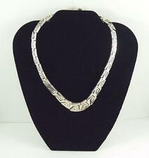 Superb Mexico Solid .950 Fine Silver Aztec Design Tapered Linked Choker Necklace