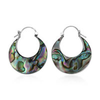 Hoops Hoop Earrings 925 Silver Abalone Shell Vintage Jewelry Gift for Women