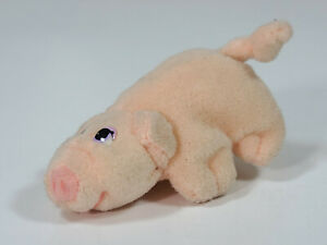"Vintage 1990s Galoob Pound Puppies Piggies Stuffed Plush 3.5"" Baby Pig- Pink"
