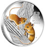 2020 Australian Lunar Series III Year of  Mouse 1oz Silver Coloured Perth Case