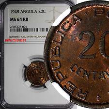 Angola Bronze 1948 20 Centavos NGC MS64 RB 300th Anniversary - Revolution KM# 71