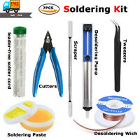 7pcs Soldering Kit Set Tweezers,Desoldering Pump,Wick,Cutters,Paste,Flux,Scraper