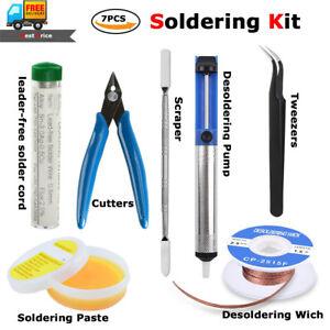 7pcs Soldering Iron Kit Desoldering Pump,Tweezer,Wick,Cutter,Solder Wire,Scraper
