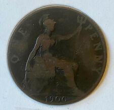 1900 One Penny, United Kingdom, Victoria (Bronze, 9.4 g), Ungraded