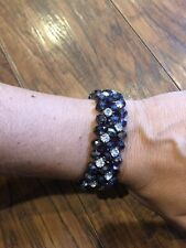 Stretch cuff bangle bracelet-$44 New Anthropologie Purple rhinestone Crystal