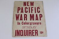 New Pacific War Map in Colorgravur Sunday Inquirer 10 cent Newspaper Sign WWII
