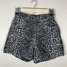 Cache Women's Shorts High Waisted Black White Leopard Print Size 8