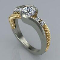 Luxury 925 Silver & Gold Round White Topaz CZ Ring Lady Wedding Bride Jewelry