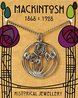 Mackintosh designed Circular Rose Pendant on silver chain with folder *[MACCRP]