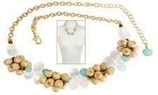 NEW: Aqua Bubbles Statement Necklace Chrysoprase Briolettes & Rock Crystal-Gold