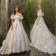 Lace Ball Gown/Duchess Short Sleeve Wedding Dresses