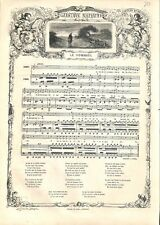 Le Pommier chanson de Gustave Nadaud goguettier poète chansonnier GRAVURE 1863