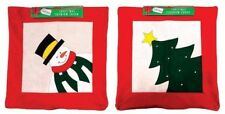 """2x Christmas Cushion Covers Tree Jolly Snowman 41 x 41cm FITS OVER EXISTING 16"""""""