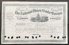 NATIONAL UNION BANK of BOSTON Stock 1894. Boston, Massachusetts. Inc. 1792.  VF+