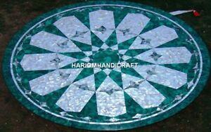 Beauiful Handmade Marble Table Top Malachite Inlay Art With Seashell Stone H4753