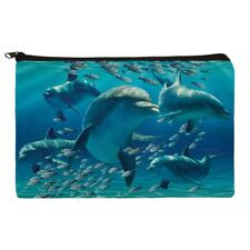 Dolphins Pod Underwater Diving Ocean Makeup Cosmetic Bag Organizer Pouch