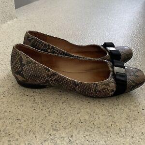 "Ladies HUSH PUPPIES SNAKESKIN SIZE 42 ""Pandora"" Bow Detail Casual Leather"