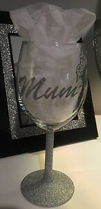 Mother's Day Glitter Wine Glass & Charm Silver Pink Gift Mum Nan Aunt Occasion