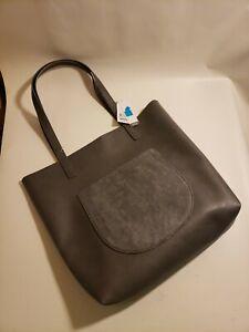 Time and Tru Women's Faux Fur Handbag Purse with Matching Zip Pouch Gray