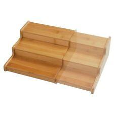 NEW Seville Classics 3 Tier Expandable Bamboo Spice Rack Step Shelf Organizer