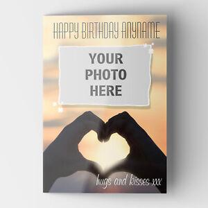 Personalised PHOTO CARD your IMAGE Greeting Birthday Anniversary GLOSSY Finish