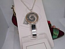 SUPER FANCY SILVER GOLD SCROLL CIRCLE OF LOVE ID NECKLACE BADGE HOLDER TRAVEL