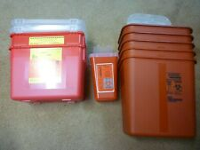 Lot Of 8 Sharps Biohazard Container Various Sizes Needle Disposal Sharps