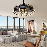 "Modern 42"" LED Ceiling Fan Light w/ Remote Chandelier Lamp Retractable Blade New"